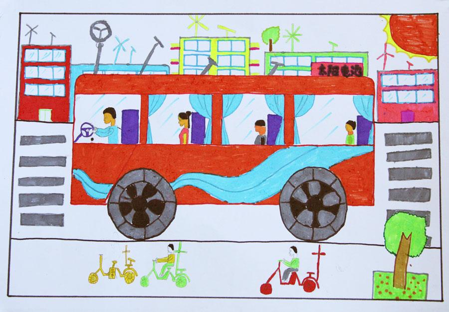 有关汽车的儿童画马路