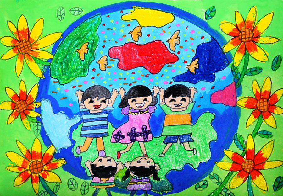 我们拥有着同一个梦想; 放飞梦想儿童画; 让我们的家园更加和谐图片