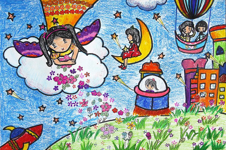 太阳月亮地球儿童画
