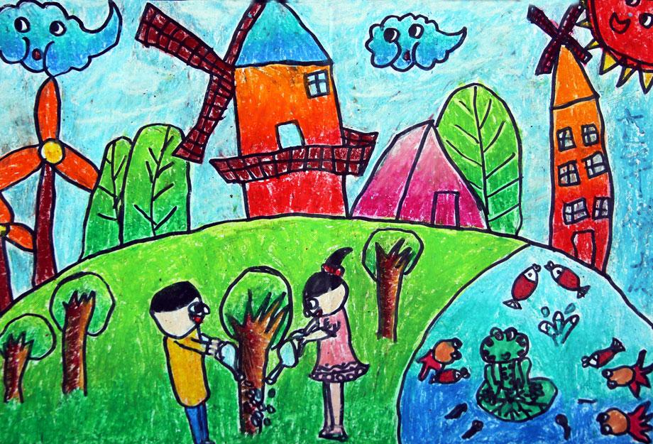 美丽的家园儿童画
