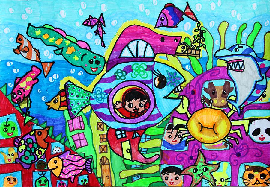 未来城市绘画作品初中分享展示图片