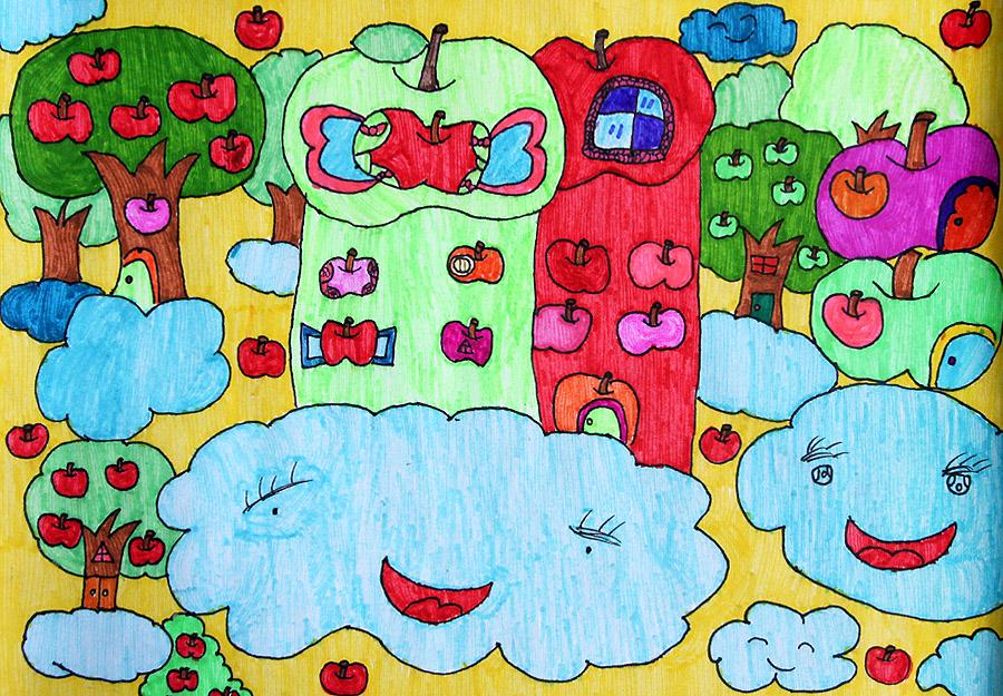 两个苹果房子绘画