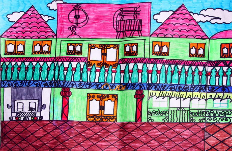 乡村房子的画图片大全;