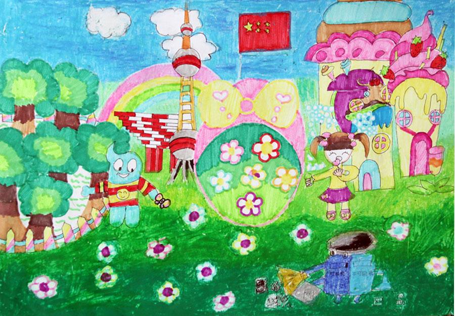 王之铭 7岁 爱护地球; 儿童幻想画11岁小学生科学幻想画优秀品(3)小