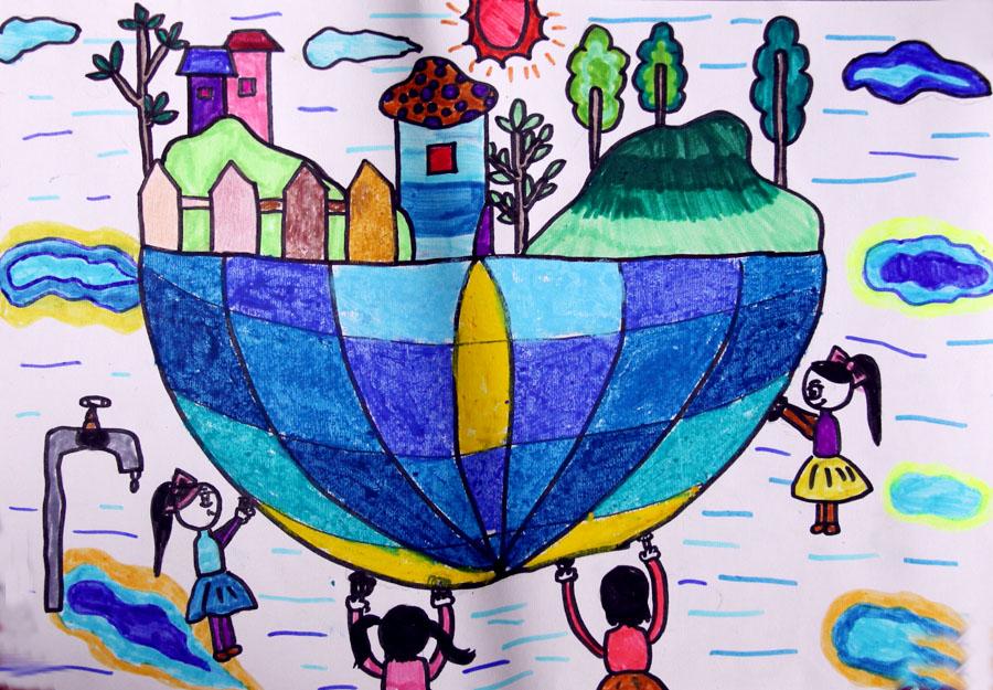 地球是我们的家儿童画
