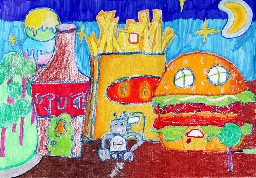未来的房子儿童画未来的房子图画 未来的房子创意画1; 魏菲菲 11岁