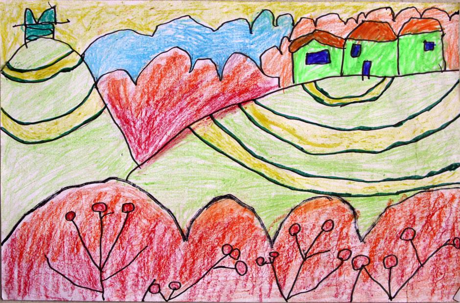 梯田风景图画儿童绘画