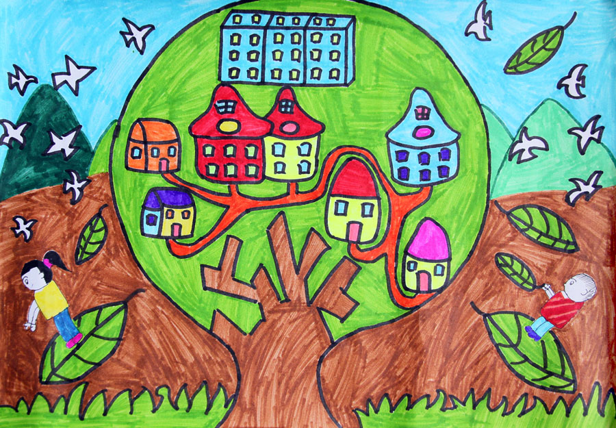 绿色校园手绘画