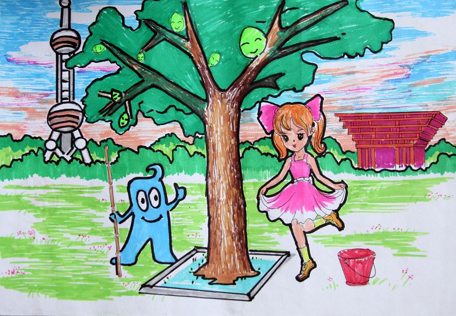 六年级简笔画彩色家园