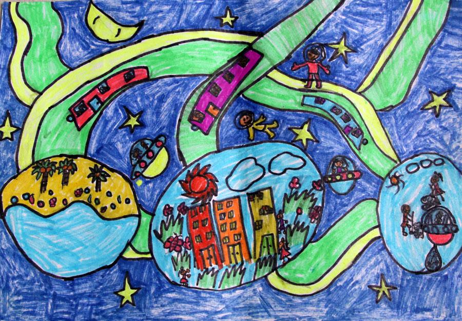 星球画画图片儿童画