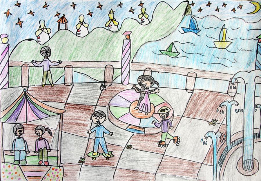 我的家乡/少儿绘画作品/儿童画; 冯瑞森 岁 我的家乡 海岛一角; 画一