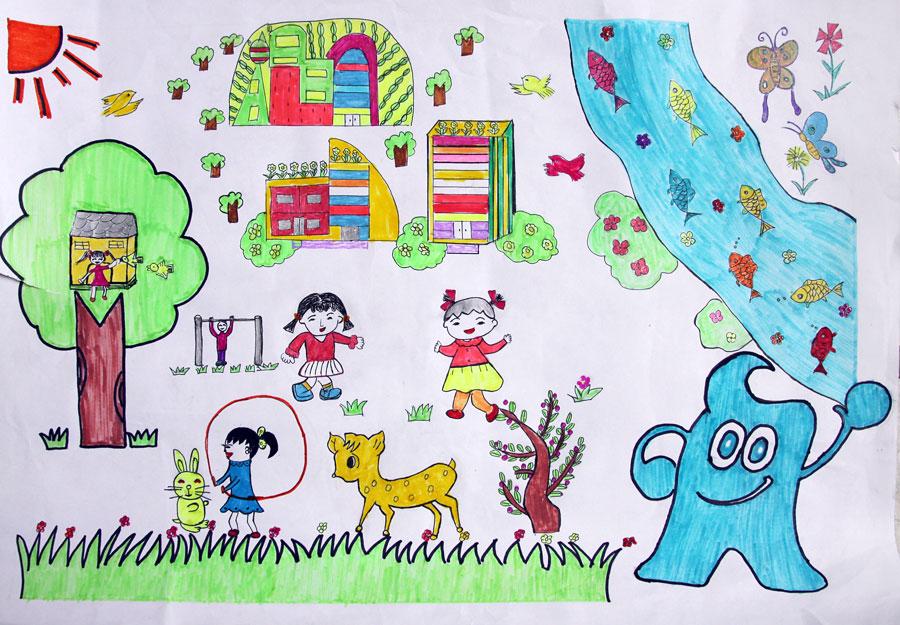 动物家园创意简笔画