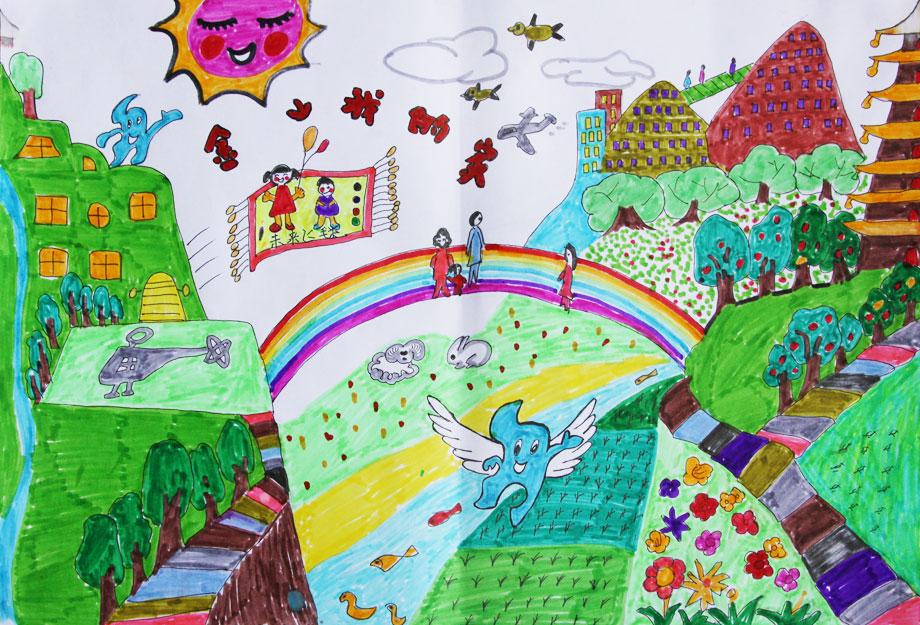 色调,体现环保主题.海宝的出现为整幅画增添了几分活泼与灵动.