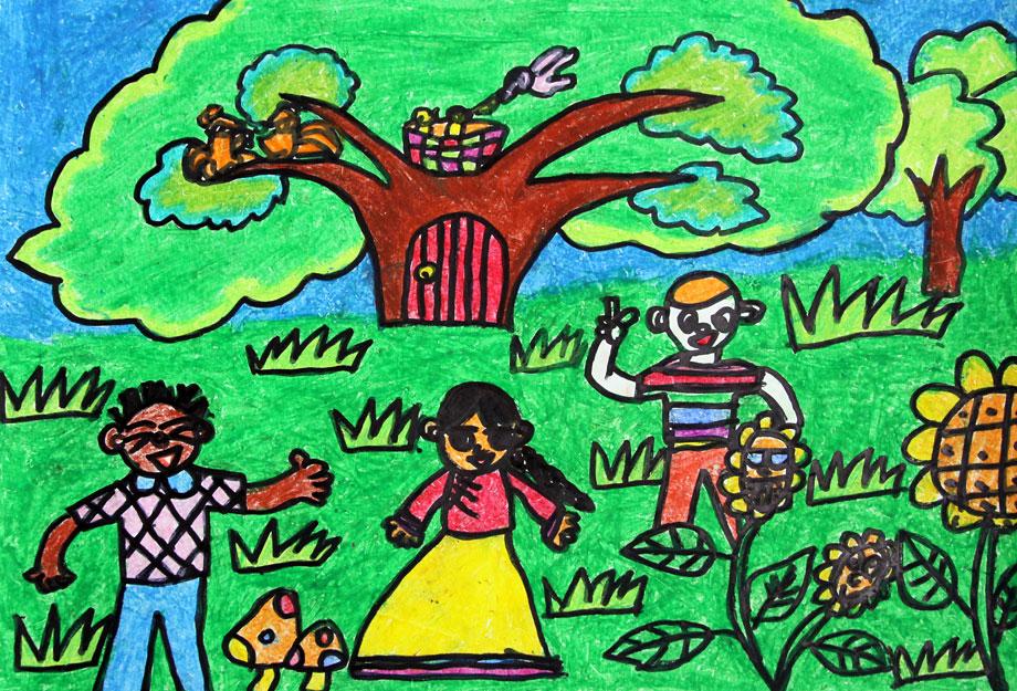 绿色校园绘画图片大全