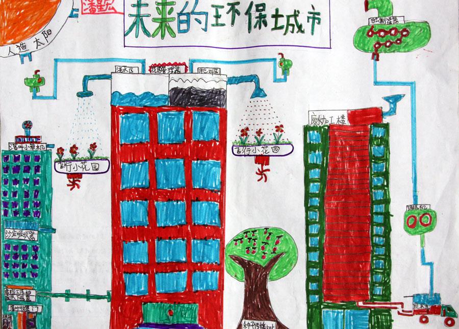 梦想未来的图画-潘星宏 9岁 未来的环保城市