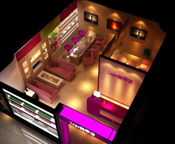 烟台美甲店设计装修,美甲桌产品展示柜设计制作